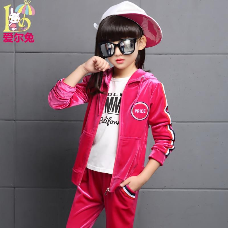 ФОТО Children's clothing female child autumn set 2017 8 child clothes 10 girl 12 big boy 15 sports set