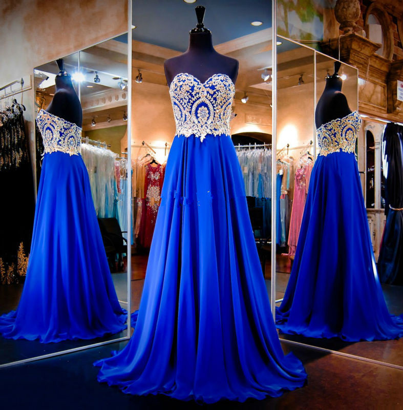 Cheap Long Prom 2018 Vestidos Longos promocao Gold Lace Sweetheart Formal Gowns Royal Blue Graduation Party   bridesmaid     Dresses