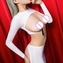 Lencería erótica para mujer, ropa interior sexual, vestido de picardías porno, vestido de lencería sexi con la parte superior abierta