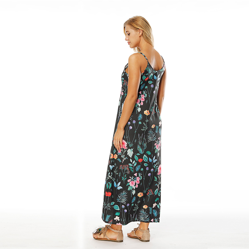 eb4abc3d446 2018 Women Summer Floral Print Sleeveless Sling Long Sexy V Neck Dress  Casual Beach Dress Plus Size Prairie Ankle length-in Dresses from Women s  Clothing on ...