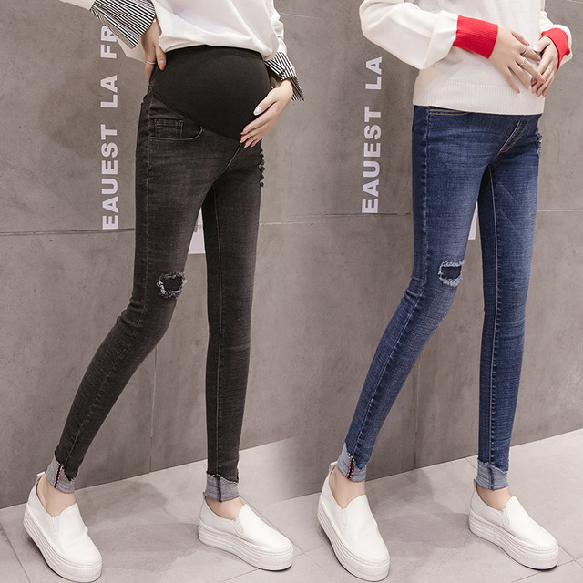 0f53b21a95f44 Maternity Jeans For Pregnant Women Pregnancy Winter Warm Jeans Pants  Maternity Clothes Nursing Prop Belly Legging