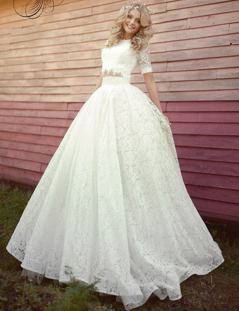 Two Piece Wedding Dress 2015 Vintage Lace Princess Ball Gown Wedding ...