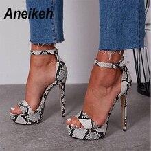 Aneikeh/ Босоножки на платформе и высоком каблуке под змеиную кожу; Летние пикантные вечерние босоножки-гладиаторы с открытым носком и ремешком на щиколотке; женская обувь; Размеры 4-9