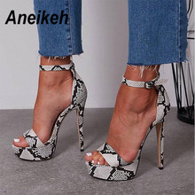 Aneikeh 2019 Serpentine Platform High Heels Sandals Summer Sexy Ankle Strap Open Toe Gladiator Party Dress Women Shoes Size 4- 9(China)