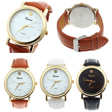 SmileOMG  Luxury Women Man Faux Leather Band Analog Quartz Dial Watch ,Aug 18