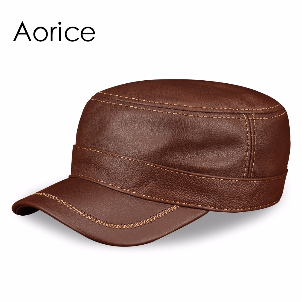 HL175 Genuine Leather Men S Caps Hats Brand New Style Spring Real Leather Baseball Cap Hat