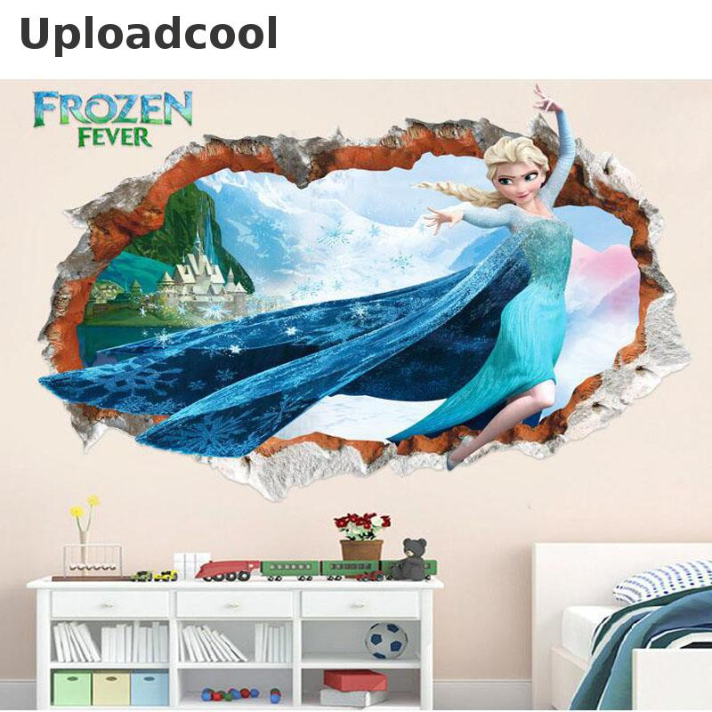 Uploadcool Overseas friends shopping shop Store Uploadcool _ New movie snow queen wall stickers lovely ice and snow princess wall stickers children room decoration art stickers