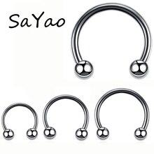 SaYao 2 шт. 14 мм диаметр шар из нержавеющей стали круговой штанги Подкова кольцо носа губ кольца, пирсинг тела, украшения
