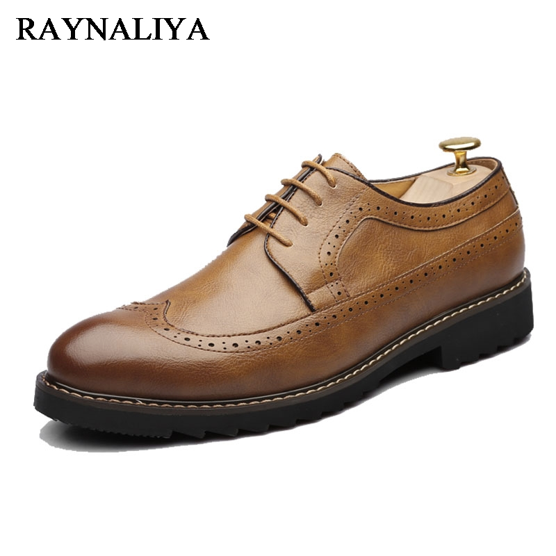 Big Size 38-46 Men Business PU Soft Leather Shoes Lace-up Men Classic Office Wedding Formal Flats Shoes LJG-B0009
