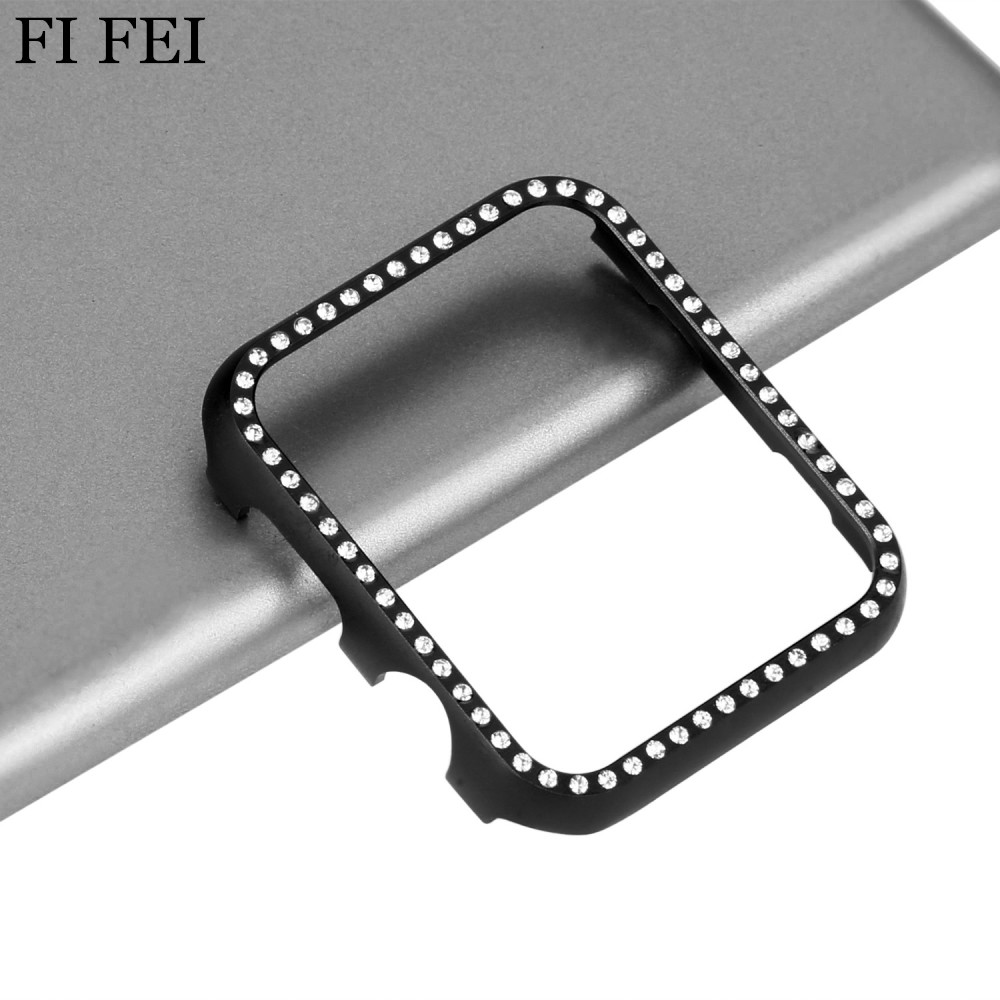 FI FEI New Ultra Thin Bling Crystal Diamonds Aluminum Metal Cover for Apple Watch Case Series 1/3/2 Bumper Case 42mm 38mm Band 0 7mm metal aluminum case bumper for samsung galaxy note 3 iii n9000
