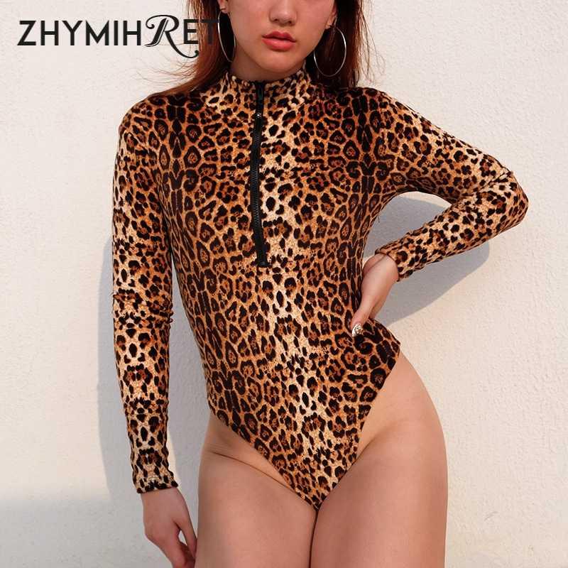 ZHYMIHRET Otoño Invierno leopardo Skinny mujeres Bodysuit cremallera frontal 2018 Playsuit Mock cuello manga larga mono mujer Romper