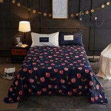 2018 Cherry Dark Blue Quilting Bedsheet Print Microfiber Polyester Stitching Bedlinens Coverlet 3pc Bedspread Set Pillowcases