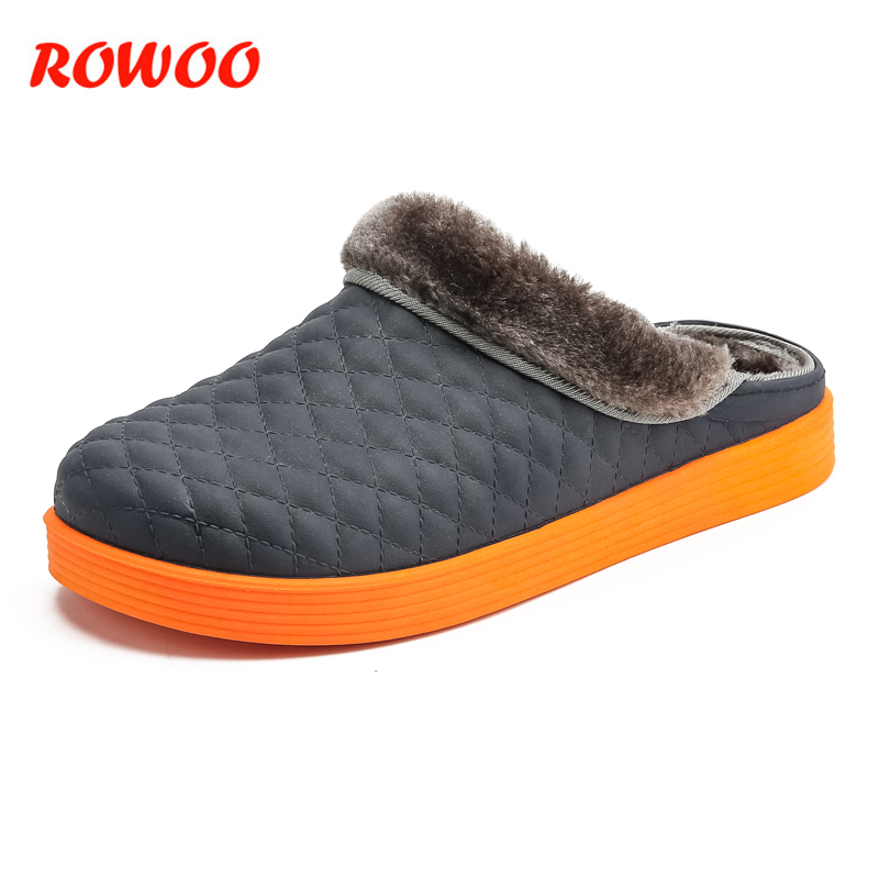Plush Cotton Slippers Men Shoes Non-Slip Floor Indoor House Home Furry Slippers Male Shoes For Bedroom Warm Winter Men Slides fghgf shoes men s slippers mak