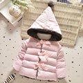 Algodão Meninas Do Bebê inverno Para Baixo Arco Sólido Com Capuz Crianças Infantil Parkas Princesa Desgaste Neve Casaco Outerwear casaco roupas de Estilo bebe