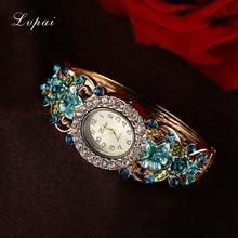 hot deal buy lvpai fashion luxury gold bracelet watches women flower gemstone classic alloy wristwatch women dress watches new quartz watch