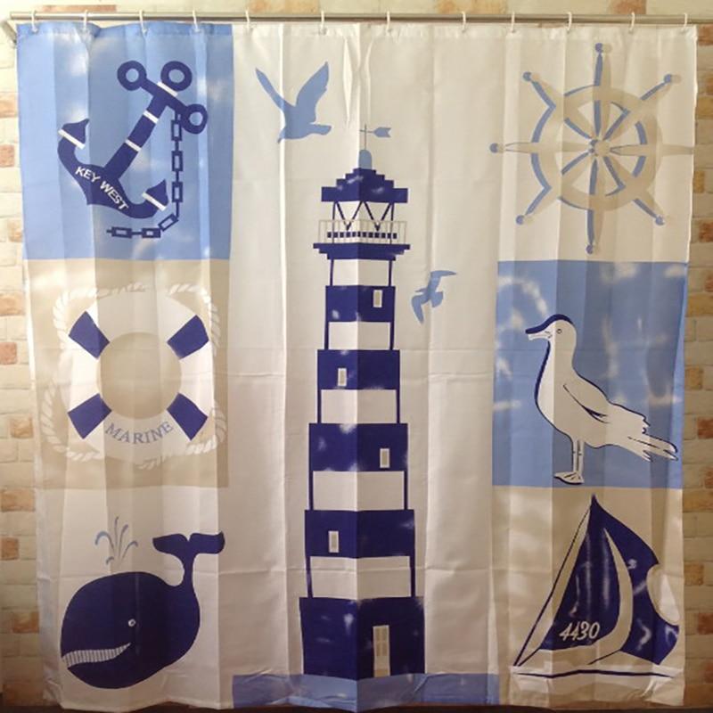 Shower Curtain Waterproof Ocean 180x180cm Bathroom Tub Lighthouse Polyester Novelty Cool Fun Nautical Shower Curtains