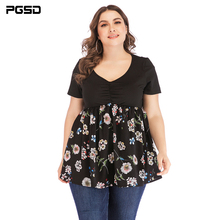 PGSD Summer casual Big Size 5XL V-Neck Short sleeve high-waisted Flower Printing Stitching T-shirt female Fashion women clothes