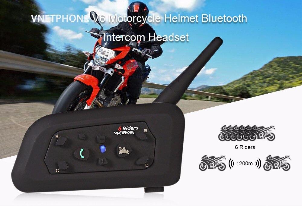 VNETPHONE V6 Motorcycle Helmet Bluetooth Intercom Headset 6 Riders Waterproof