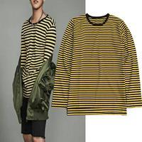 KPOP Stesso Stile Nero e Giallo A Strisce T-Shirt 2018 Mens Hiphop Side Slits Lungo Sleeve Tee Trasporto Libero