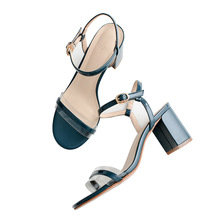 2018 New High heel sandals 7.5CM Word Band Women's sandals Thick with Patent leather Word buckle Women's shoes