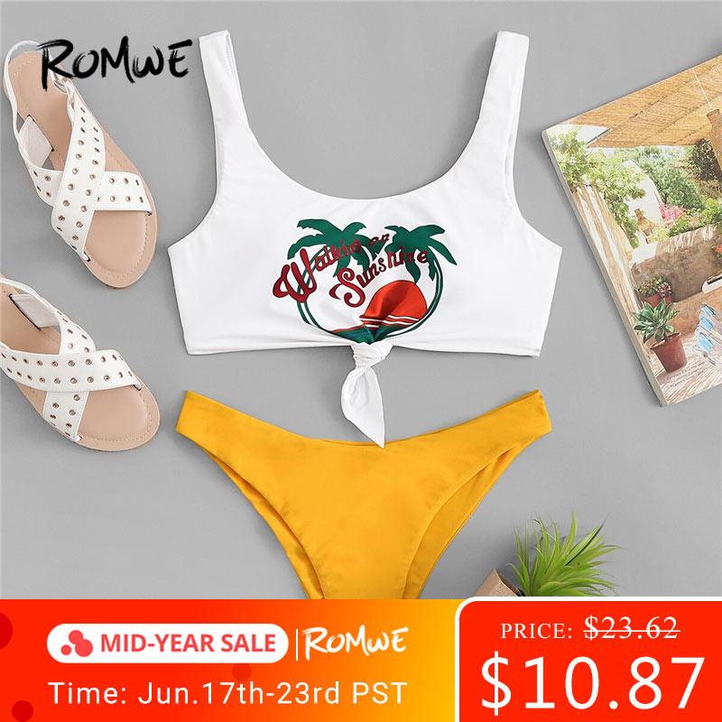 75e7a30d2a61 Conjunto de Bikinis deportivos Romwe plantas estampado de letras tropicales  mezcla y juego de baño ...