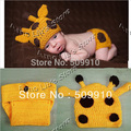 2013 New Arrival crochet baby set Knit Baby girl Hat + diaper sets kids photogryphy props Newborn Baby Deer Beanie 1set