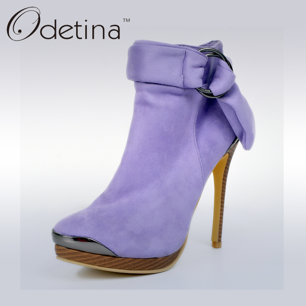 ФОТО Odetina 2017 Brand New Women Sexy Suede Purple Boots Metal Thin High Heels Ankle Boots Ankle Buckle Strap Stiletto Heel Booties