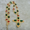 2015 New Designer DG baroque palace vintage Green Gem Long Necklace luxury lady sweater chain pendant statement  Free shipping