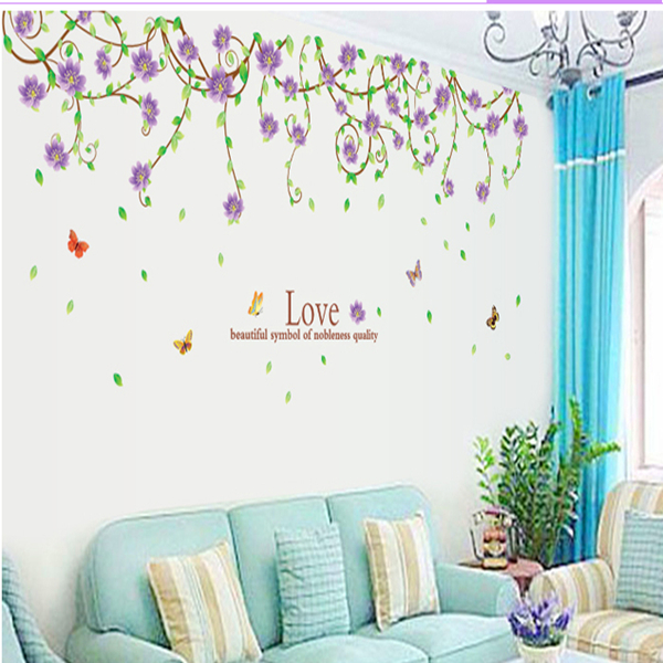 New purple flower cane sitting room bedroom home decoration wall stickers in the wall to stick on the wall