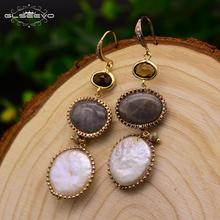 GLSEEVO Natural Fresh Water Baroque White Pearl Long Drop Earrings For Women Dance Wedding Earrings Luxury Fine Jewelry GE0405