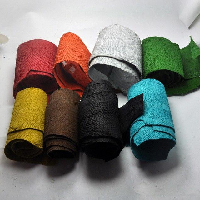 1 pcs Colorido Genuíno Couro De Peixe Salmão Peça Multi Cor DIY Bag Belt Shoes Acessórios 45*10 cm
