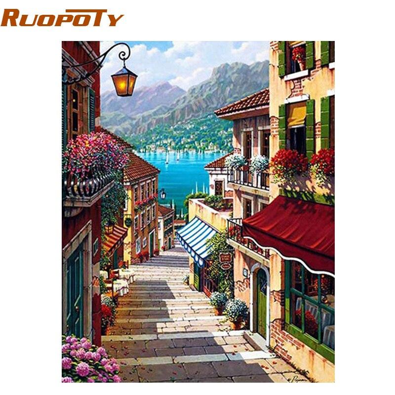 RUOPOTY marco 40x50 cm café ciudad paisaje pintura por números arte de la pared pintura al óleo Diy decoración para el hogar decoración de la habitación