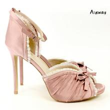 Aiyoway Elegant Women Peep Toe High Heels Sandals Wrinkle Lace Stiletto Ladies Wedding Evening Party Shoes Pink Satin 2019