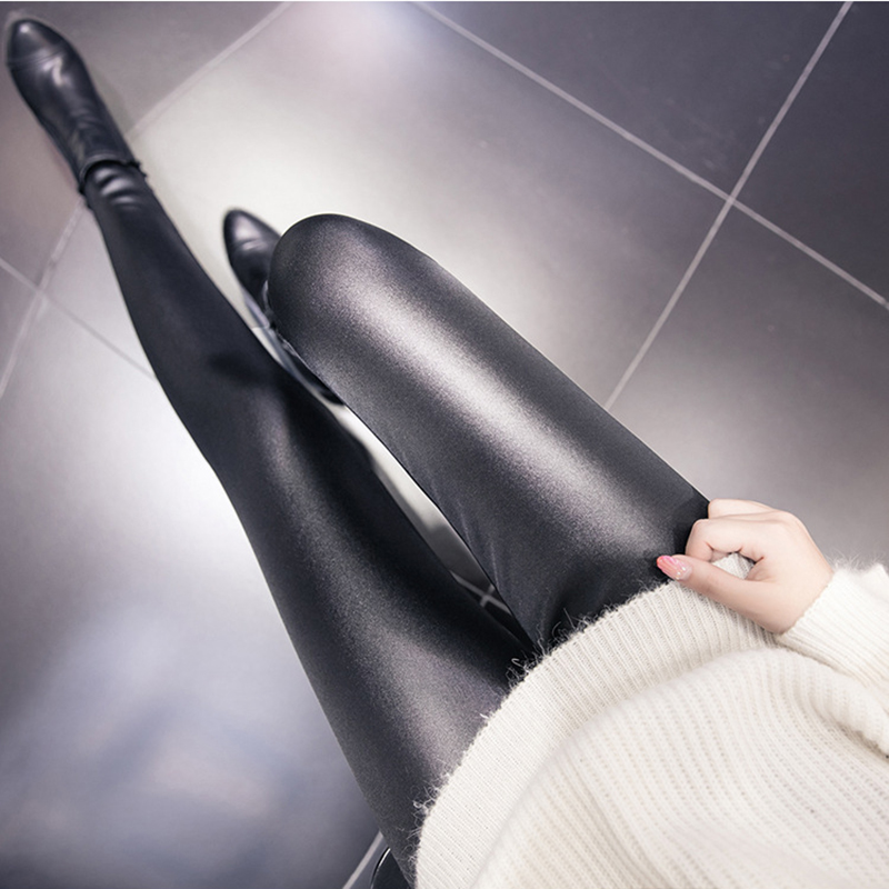 Dreawse Autumn High Elastic Women Leggings 110kg High Waist Plus Size 6XL Leggings Imitation Leather Black Thin Pants Femme 1097