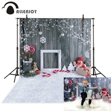 цена на Allenjoy photography backdrop Wooden board Snowflake Snowman Balls Christmas children background new original design for studio