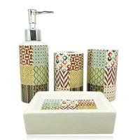 4 pieces of imitation stone ceramic bathroom wash set room toothbrush holder liquid soap dispenser soap box bathroom accessories