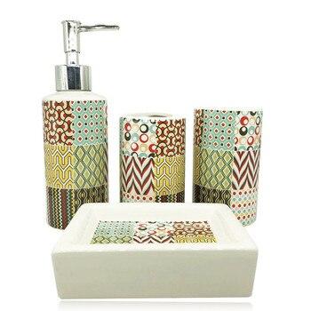 4 stück von nachahmung stein keramik bad waschen set zimmer zahnbürste halter flüssigkeit seife dispenser seife box bad zubehör