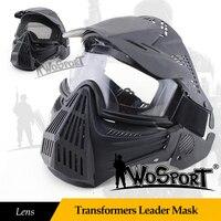 WOSPORT Chiến Thuật Ngoài Trời Transformers Leader Mặt Nạ Ống Kính Full Mặt Thoáng Khí CS Săn Army Quân Airsoft Mặt Nạ Bảo V