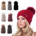 Invierno de piel de Mapache Pom Pom Sombreros para Las Mujeres de Acrílico Caliente Interior de polar Gorros Sombreros bobble sombrero de Visón de piel Femenina Cap A401