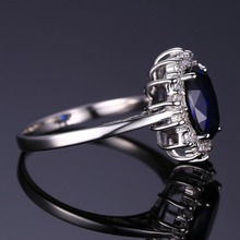 2.6 CT Blue Sapphire 925 Sterling Silver Engagement Ring