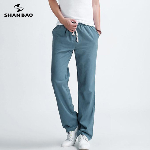 ШАО БАО бренд популярным стиль свободные повседневные брюки 2017 весна летний новый мужские льняные брюки большой размер черный синий бежевый зеленый
