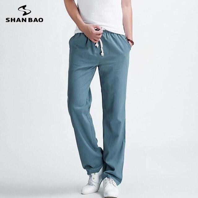 SHAO BAO marca estilo popular sueltos pantalones casuales 2017 de primavera verano nuevos pantalones de lino de los hombres de gran tamaño negro azul beige verde