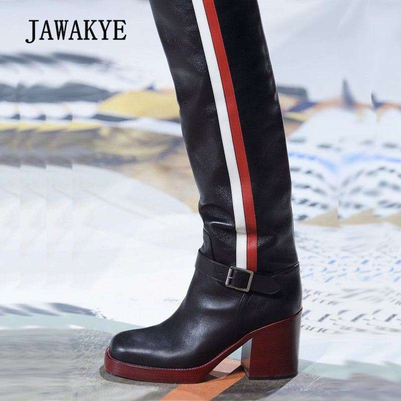2018 Chic Cow Leather Knee High Boots Women Round Toe Red White Stripe Chunky High Heel Boots Woman Fashion Knight Boots white high heel knee high long boots for woman ladies solid super high chunky heel half boots round toe fashion boots dress shoe