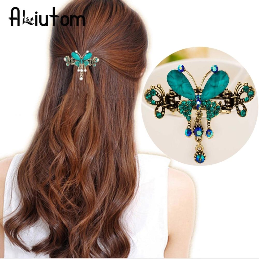 ALIUTOM New Vintage Women Elegant gem Butterfly Flower ...  Real