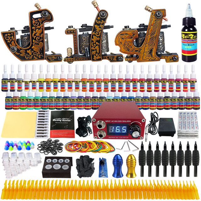 Solong Tattoo Complete Tattoo Kits 3 Pro Coil Machine Guns For Shader & Linner Power Supply Foot Pedal Grip Tip Ink Set TKC03
