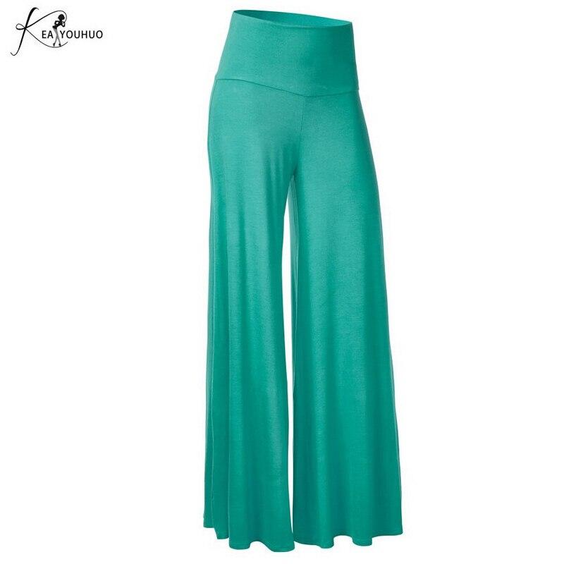 2019 Summer Trousers Women Plus Size Joggers Womens   Pants   Stretchy High Waist   Wide     Leg     Pants   Female Loose Large Pantalon Femme
