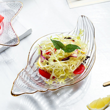 Creative Dinner Plate Crystal Glass Pizza Tableware Unique Matte Dinnerware Luxury Gold Snack Dessert Sushi