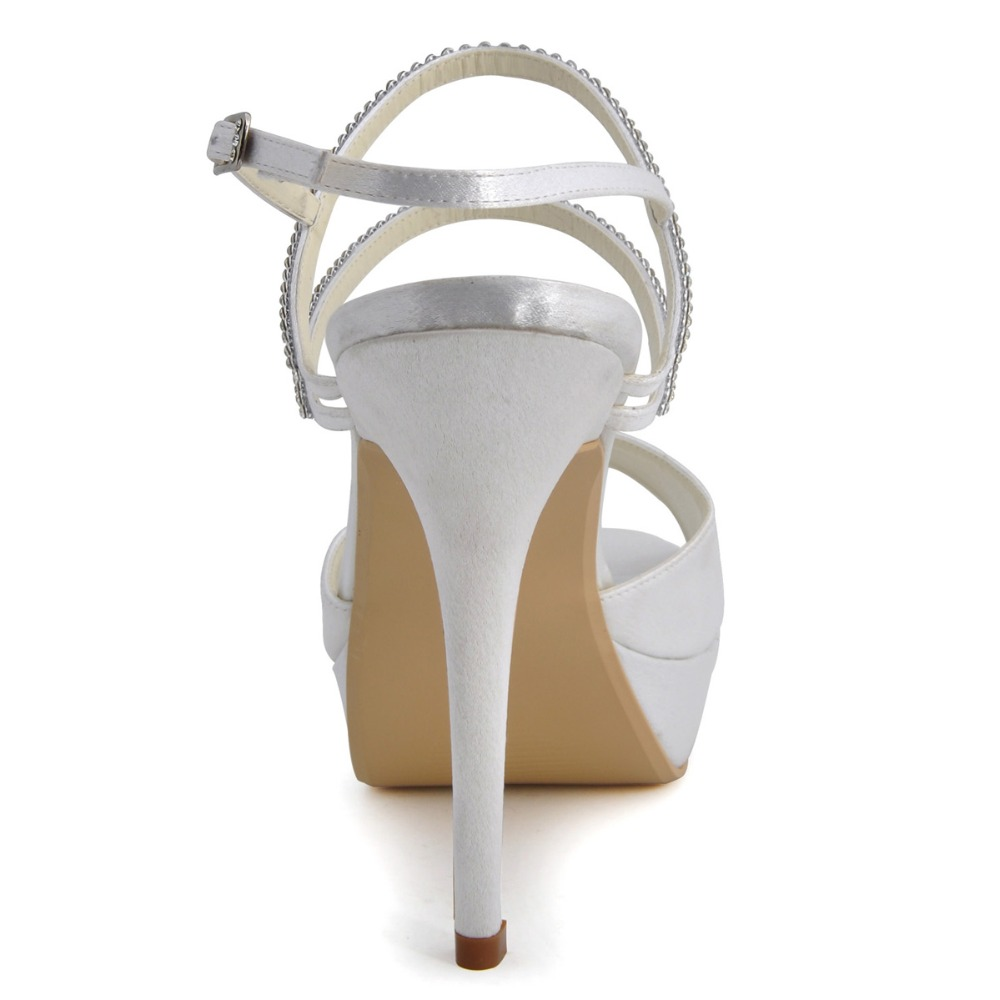 90d32314920 US $56.99 |EP41001 PF White Peep Toe Pump Platform Stiletto Heels Slingback  Rhinestone Satin Bridal Party Shoes-in Women's Sandals from Shoes on ...
