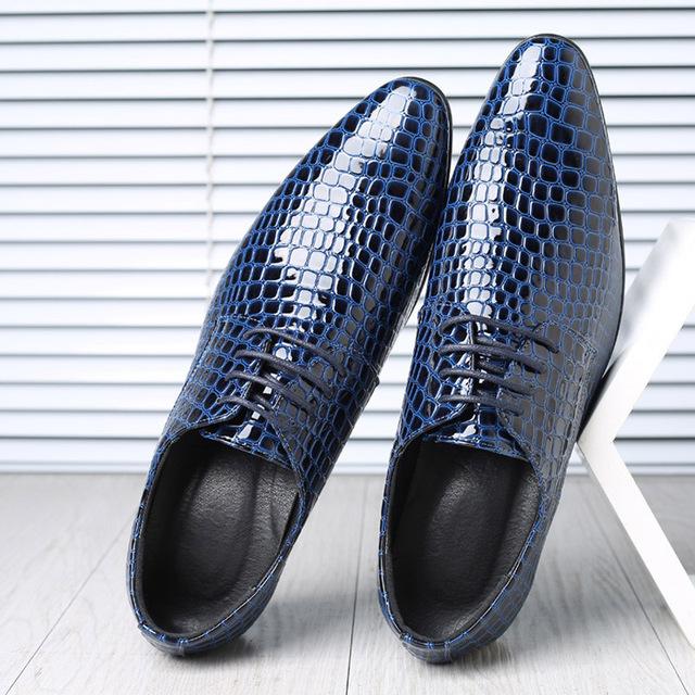 Men Dress Shoes Men Formal Shoes Pointed Toe Wedding Shoes Crocodile Leather Fashion Oxfords Business Formal Shoes Men Size 48
