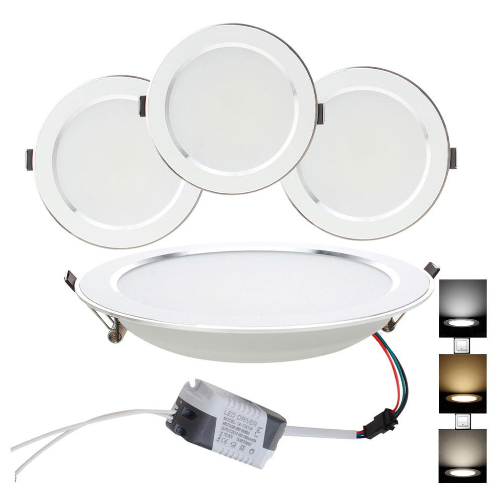 10pcs/lot Led Downlight Lamp 3W 5W 7W 9W 12W 15W 18W Ceiling Recessed Downlights Round Led Panel Light Three Color 220V 110V-in LED Downlights from Lights & Lighting    1